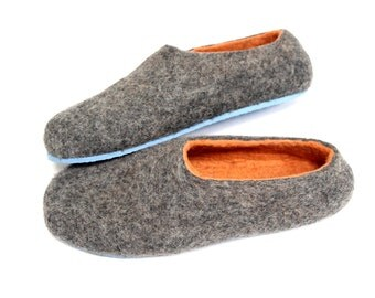 Gray Orange Shoes - Felted Wool Slippers - Minimalist Shoes - Christmas in July - House Shoes - Rubber Soles -Color Blocking - Gift for Her