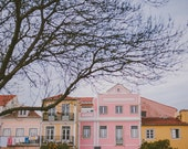 Pastel Travel Decor, Travel Photograph, Pastel Colors Art Print, Europe, Pastel Colours Home Decor, Colorful Houses, Pink Yellow Houses