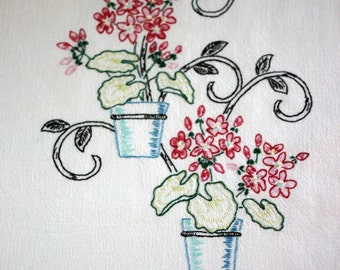 DISH TOWEL - hand EMBROIDERED - geranium planters
