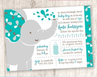 Cute Modern Elephant Baby Shower Invitation, Little Peanut Shower Invite, Turquoise Teal - DiY Printable || Baby Boy Elephant Enchantment