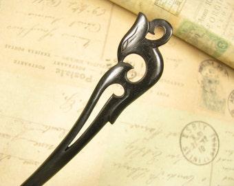 Curved Ebony Hair Pin Wooden Stick - Phoenix