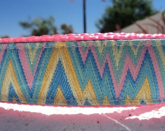 """Dog Collar Chevron Lightning Pastel 1"""" wide Side Release buckle or Martingale collar adjustable - sizes S - XL"""