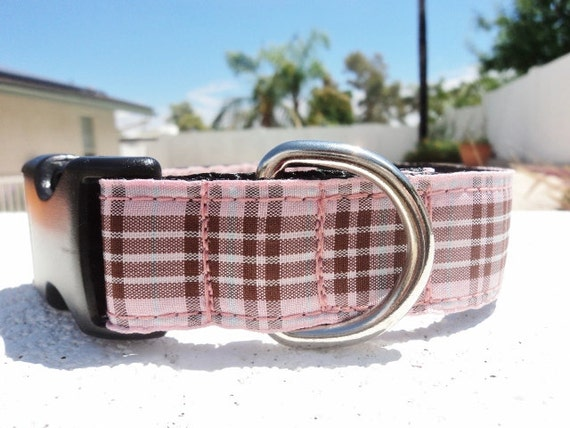 """Dog Collar Furberry Pink Tartan 3/4"""" or 1"""" wide side release buckle - martingale style is cost upgrade"""
