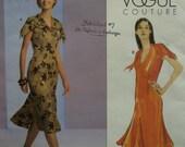 Tiered Collar Dress, Fitted, Lined, Flared Skirt, Hemline Godets, V-Neck, Short Slit Sleeves, Vogue Couture No. V2782 UNCUT Size 12 14 16