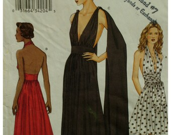 Backless Evening Dress, Halter Dress, Gathered Bust, Gathered Skirt, Fitted Midriff, Scarf, Grecian Look, Vogue No. 7521 Size 8 10 12