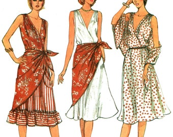 V Neck Summer Dress Pattern, Sleeveless, Front Lap Bodice, Flared Skirt - Very Easy Vogue No. 8003 UNCUT Size 8 or Cut Size 10