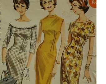 "Fitted 1960s Dress Pattern, Choice of Sleeves, Wiggle Dress, Choice of Necklines, Vintage, Butterick No. 2137 Size 16 (Bust 36"",  92cm)"