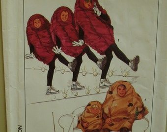 """Adult Couch Potato Costume Pattern, California Raisins Costume, Vintage 1980s, Simplicity No. 8891 UNCUT Size Sm-XL Chest 30-48"""""""