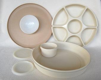 Get Set for Spring and Summer Serving Vintage Tupperware Serving Trays Dip N Serve Plus Serving Center COMPLETE with inner dip bowl