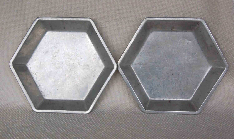 Set Of 2 Vintage Aluminum Hexagon Pie Pans Six Sided Pie Plate