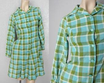 1960's Mod Cotton Fit and Flare Mini Vintage Plaid Dress Sz XS/S Green + Turquoise Dress