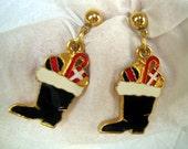 POST Christmas Holiday Santa Boot STUD Earrings