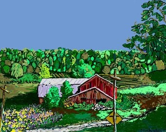 Digital Painting-8x10 Reproduction PRINT of my original-Country Landscape