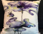"""Throw Pillow,  Hand Painted Silk - """"BLUE EXPLOSION"""""""