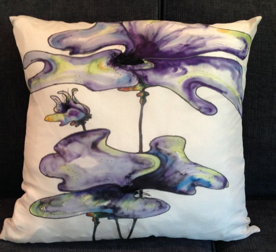 BLUE EXPLOSION - Decorative Hand Painted Silk Pillow