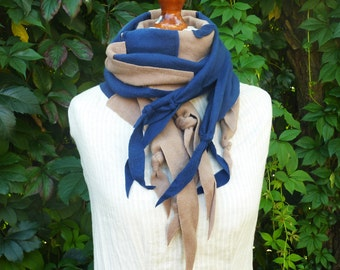 SALeee Upcycled Recycled Art Shawl made of wool sweater and blue  cotton