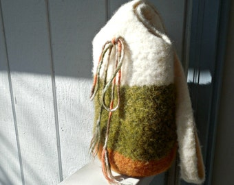 REDUCED PRICE! Crocheted Felted Bag/Tote Wool Orange Moss Green White Ready To Ship