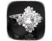 Original Gatsby Ring - Art Deco, engagement, custom made-to-order, anniversary, cocktail - white sapphires, diamonds, Moissanite, morganite