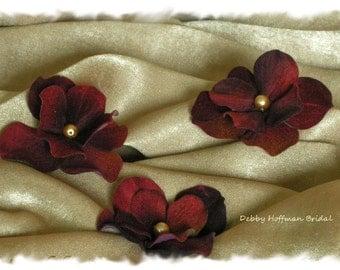 Wedding Hair Flowers, Burgundy Hydrangea Bridal Flower Hair Pins, Wedding Hair Pins, Floral Bobby Pins, Set of 3, Flower Hair Clips, No. 303