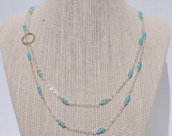 Blue Apatite, Peridot, Moonstone and Gold Circle Necklace