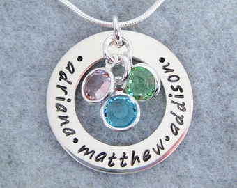Personalized Mother's Necklace with Three Swarovski Birthstone Crystals - Family Necklace