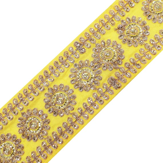 Decorative fabric trim yellow beaded by
