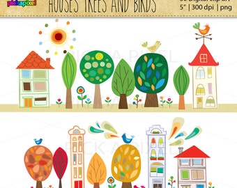 Houses Trees and Birds - digital clip art - Personal and Commercial Use