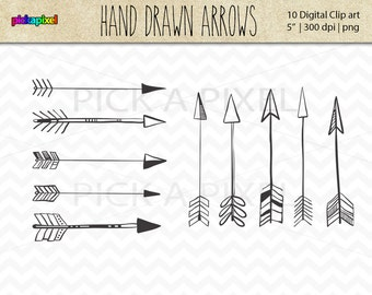 Hand-drawn Arrows Digital Clip Art - Personal and Commercial Use - 10 Colored and 10 Black Arrows
