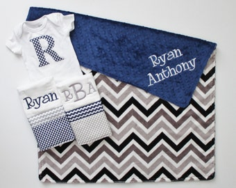 Personalized DOUBLE MINKY CHEVRON Baby Boy Blanket or Lovey Plus 2 Burp Cloths and Initial Bodysuit - Navy and Gray