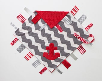 Nautical Chevron PERSONALIZED Ribbon Tag Blanket with Anchor and Pacifier Clip, Large 16 x 16