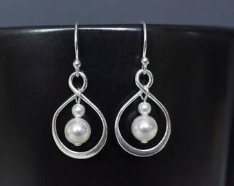 Sterling Silver Infinity Earrings, Sterling Silver Infinity Pearls Earrings, Bridesmaids Gift