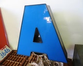 Vintage Marquee Sign Letter Capital 'A': Large Azure Blue Wall Hanging Initial -- Industrial Neon Channel Advertising in Excellent Condition