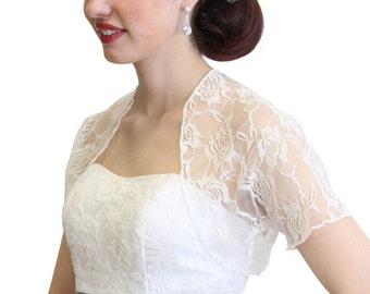 Ivory Lace Bolero With Short Sleeve, Lace Jacket, Lace Coat, Lace Shrug 720ROS-IVY