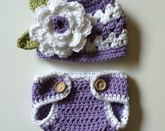 Purple newborn hat, newborn hat, baby girl hat, purple baby hat, diaper cover, newborn photo prop, newborn flower hat, baby hat, purple hat