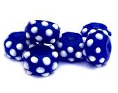 RESERVED for Cindy - 15 small blue and white lampwork glass beads, rondelles, bumpy polka dotted dark blue UFO beads
