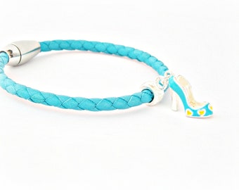 Cinderella turquoise braided leather bracelet with stainless steel magnetic clasp