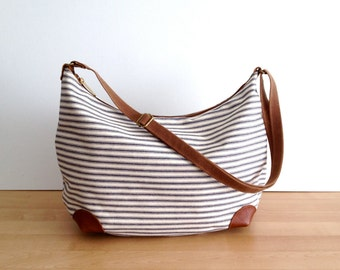 "Crossbody Hobo Bag ""round-the-world"" -- Japanese Ticking Fabric"