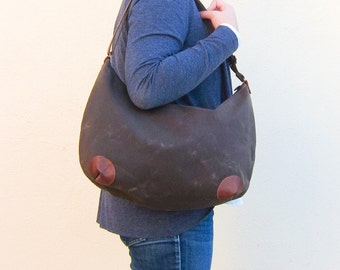 """Hobo Bag """"round-the-world"""" -- Water Resistant Waxed Canvas"""