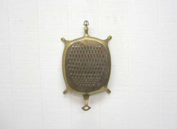 Vintage Brass / Copper Turtle Grater / Scraper Cheese Grater / Shredder / Coconut Scraper / Citrus Zester
