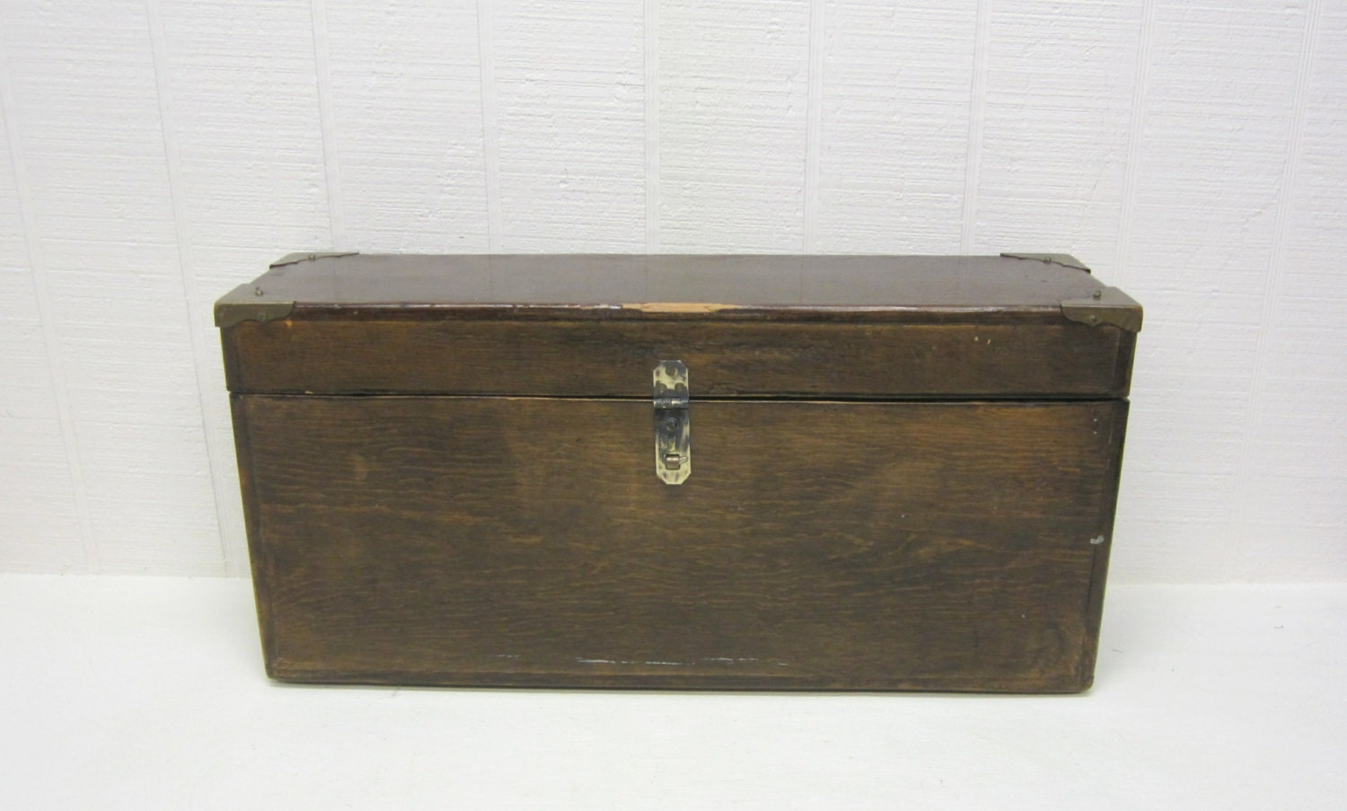 vintage wooden handmade storage box with hinged lid by thejunkman. Black Bedroom Furniture Sets. Home Design Ideas