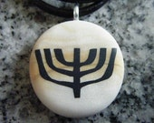 Menorah hand carved on a polymer clay light gold and pearl color background. Pendant comes wih a FREE 3mm necklace