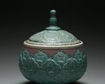 copper green lidded jar
