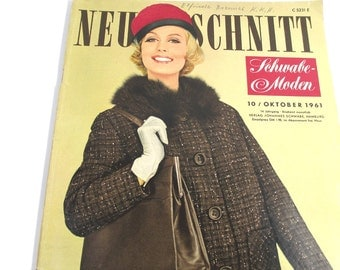 1960s German Fashion Magazine with Patterns, Neue Schnitt, Fall & Winter Fashions, Advertising Ephemera