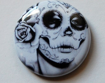 1 inch Pin Back Button - Dia De Los Muertos - Day of the Dead Sugar Skull Girl Tattoo Flash Artwork Felicity Black And White Tattoo Badge