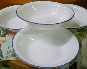 3 - Corelle - Blue Velvet Rose - Soup/Cereal Bowls - HTF - Swirled Pattern - EUC - 7 1/4 Approx. - Price For All