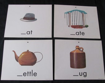 Vintage Old School Large Flash Card - Consonants - Choice of Hat Jug Kettle Gate