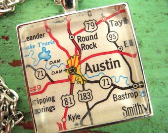 Custom Map Jewelry, Austin Round Top Texas Vintage Map Pendant Necklace, Personalize, Map Cuff Links, Groomsmen Gifts Ideas