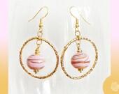 Hook Earrings 15mm Pink With Gold Striations HandMade Murano Lampwork Beads Hammered 30mm Gold Hoops Dangle Earrings Pick GP or 14K GF Hooks