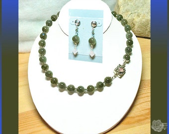 """17"""" Necklace 12mm Opalescent Labradorite Swarovski Crystals Sterling Silver Box Clasp with Rose Quartz And/Or Sterling Silver Post Earrings"""