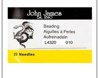 Needles-Beading-John James-Size 10-England-Quantity 25
